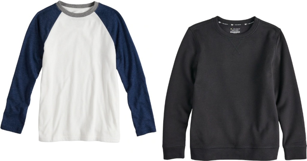 boy's shirt and sweatshirt