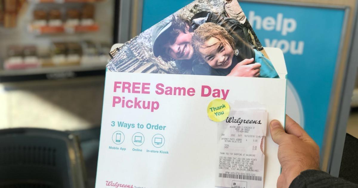 8x10 Photo Print in Walgreens envelope advertising free same day pickup
