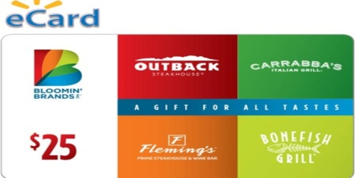 10% Off Outback, Carrabbas & Bonefish Grill eGift Cards at Walmart.com