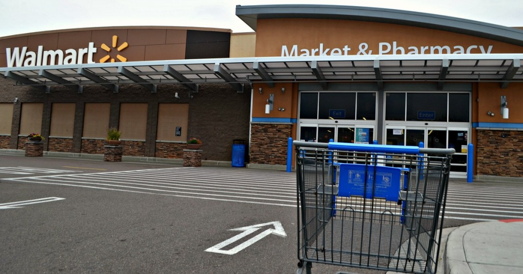 Walmart store front and shopping cart