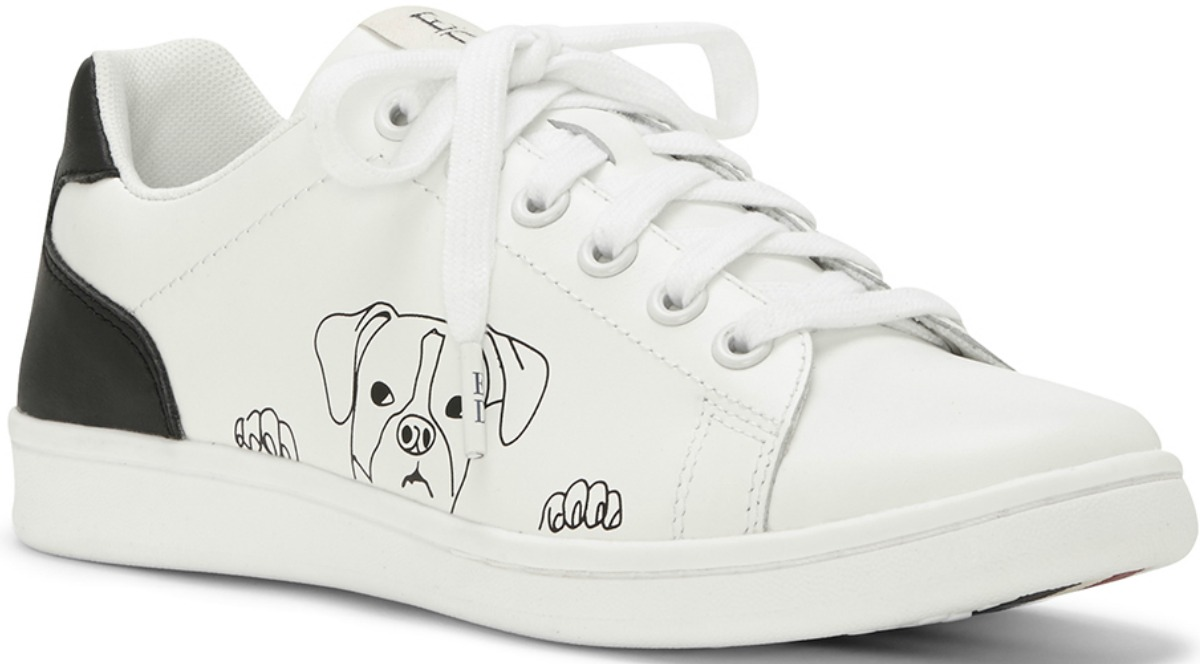 black and white shoes with dog outline