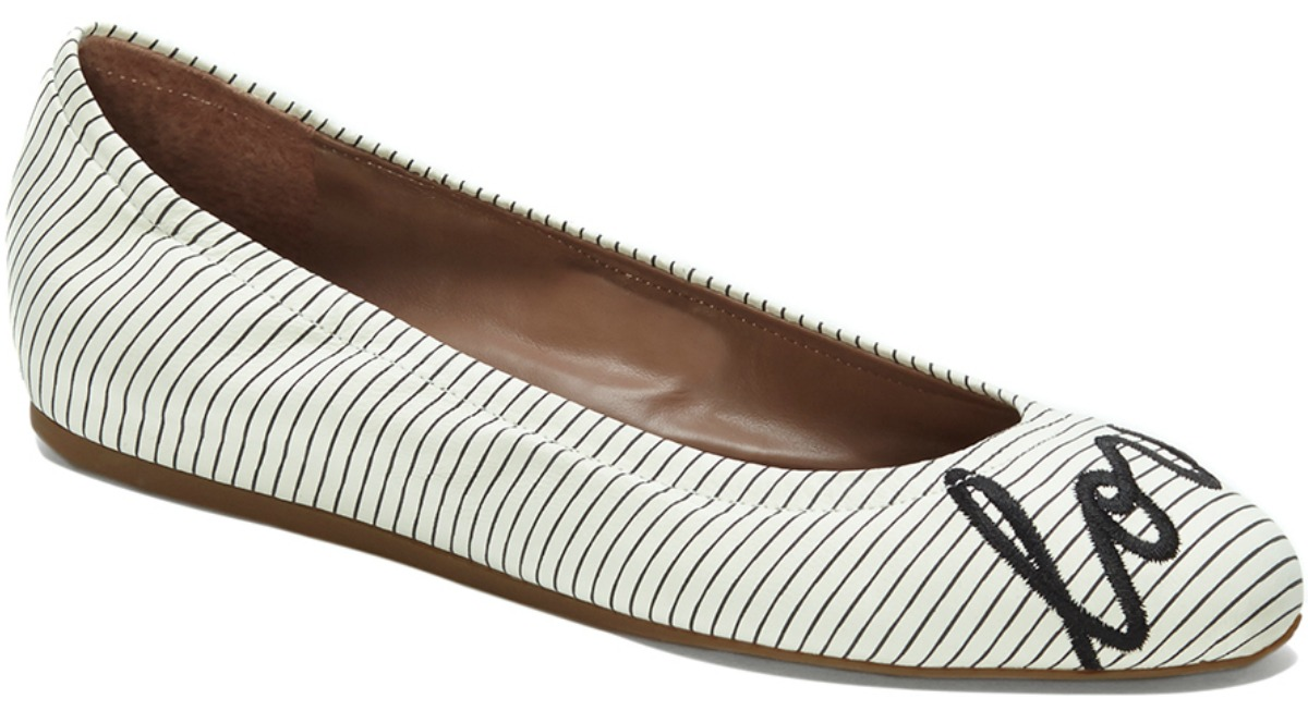 black and white striped flats with love on front