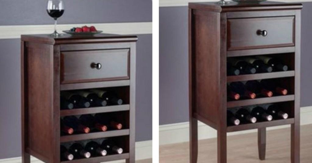 wood wine cabinet holding 12 wine bottles