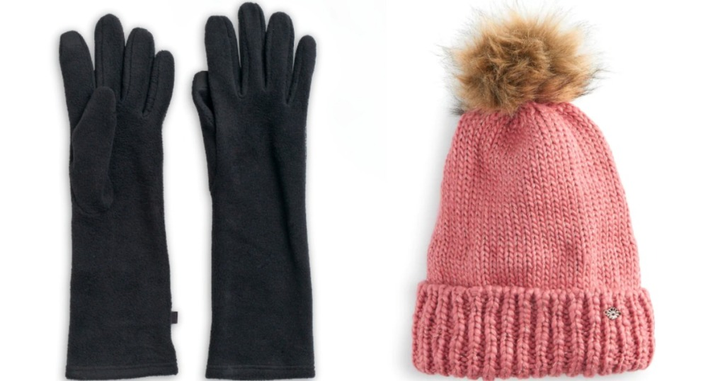 long gloves and beanie