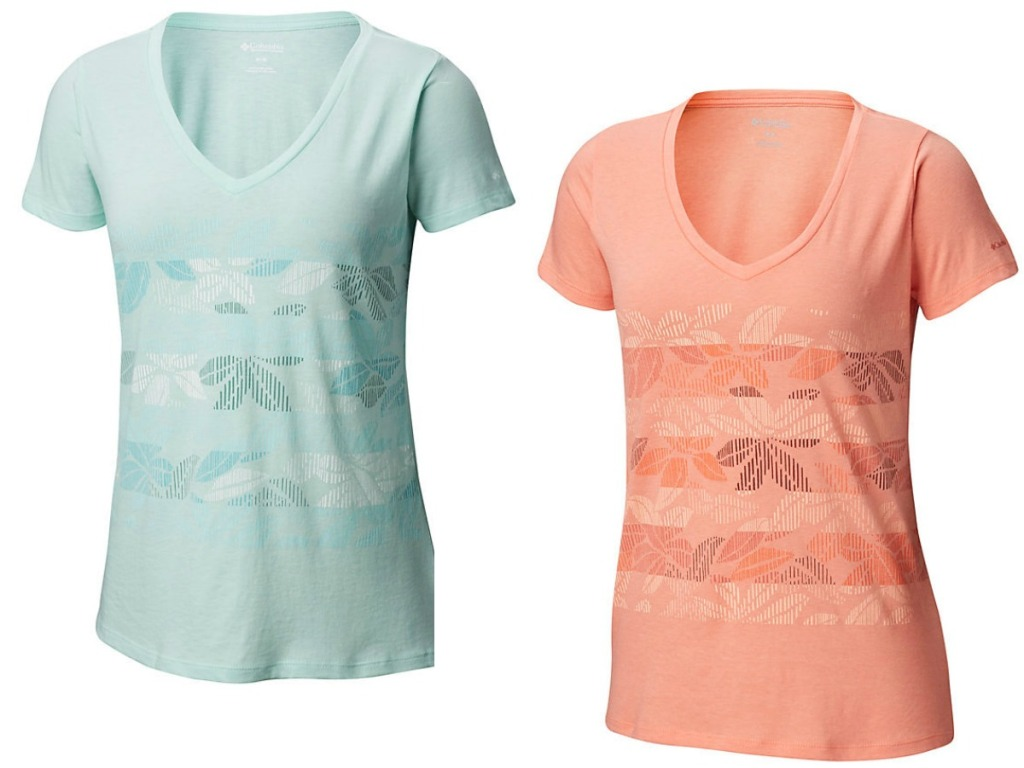 two women's shirts with v necks in blue and orange