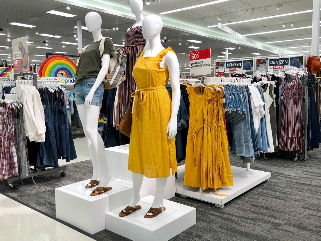 women mannequin dressed in yellow dress