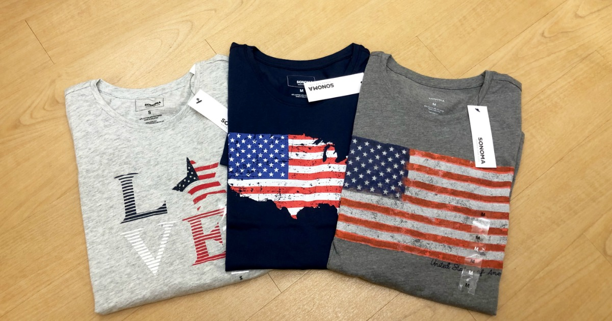 three flag-themed women's 4th of july tees at Kohl's
