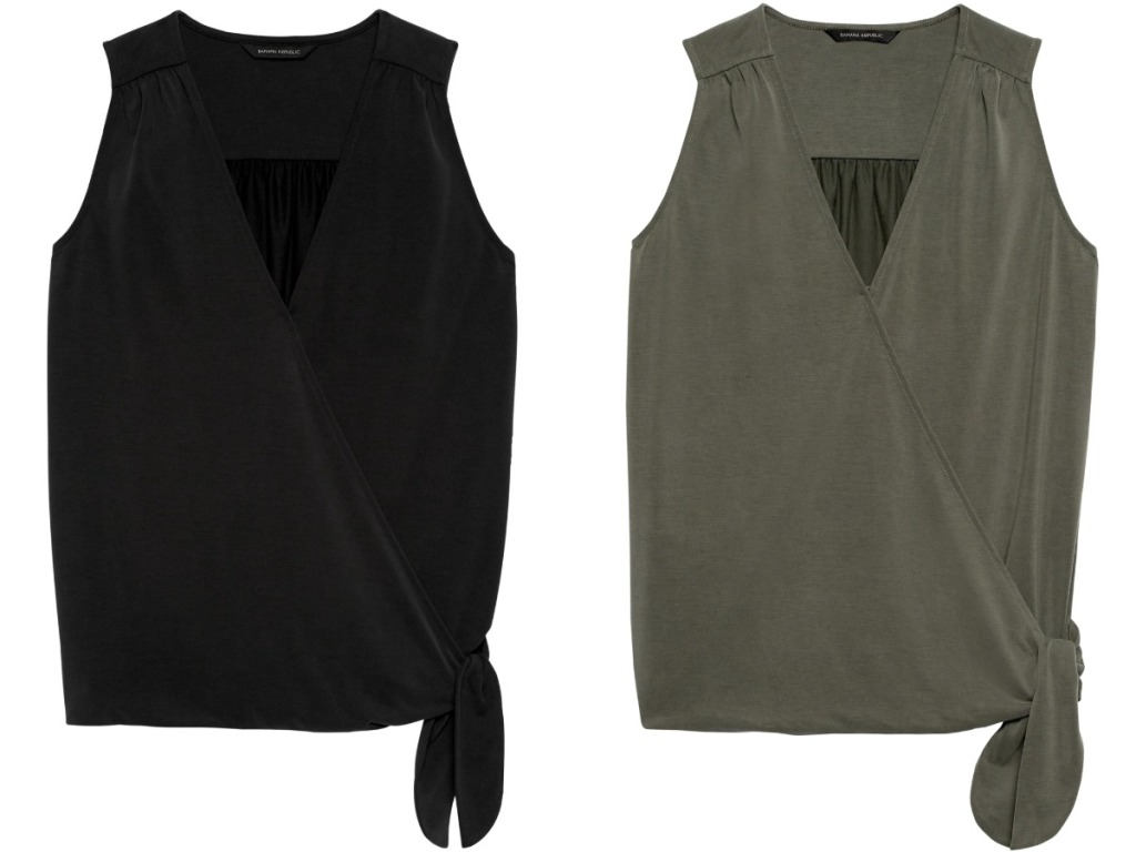 black and green wrap tops