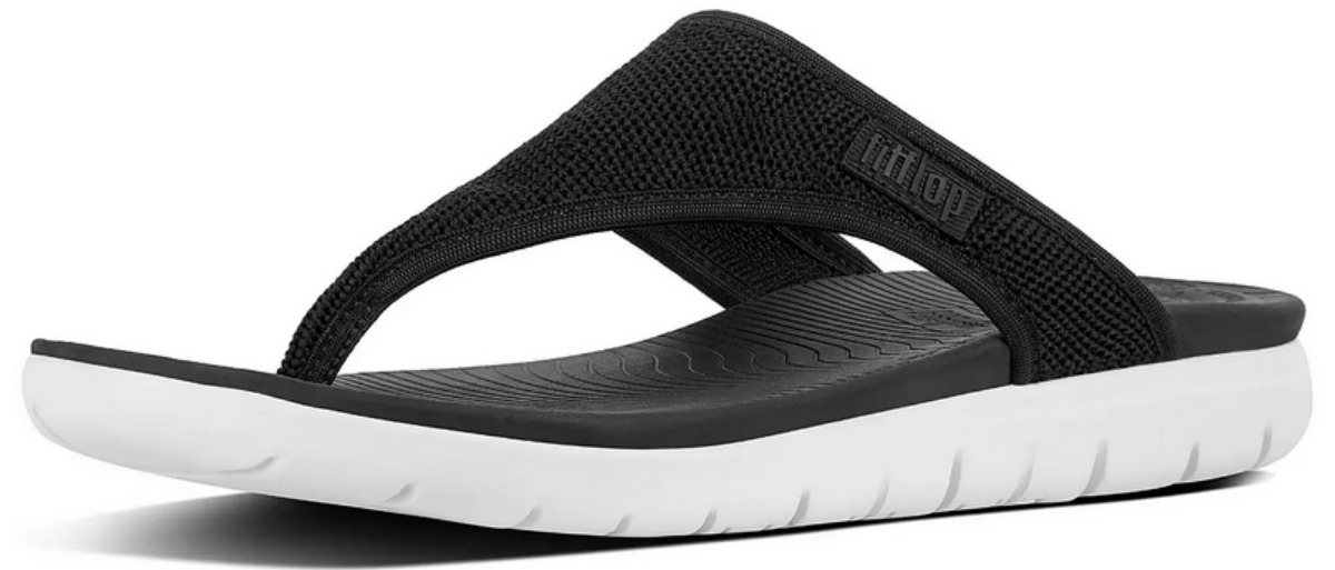 black thong sandal with white sole