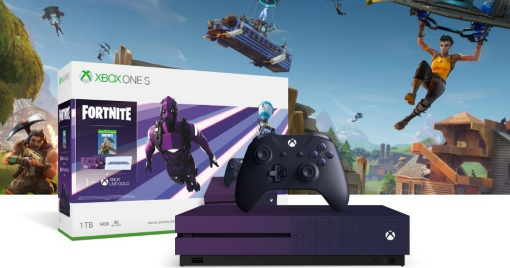 xbox one s fortnite box, console and controller with video game action shot in background