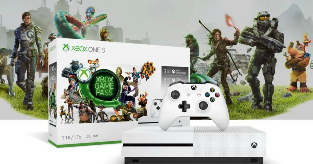 xbox one s starter pack box, console, controller and video game action shot in background