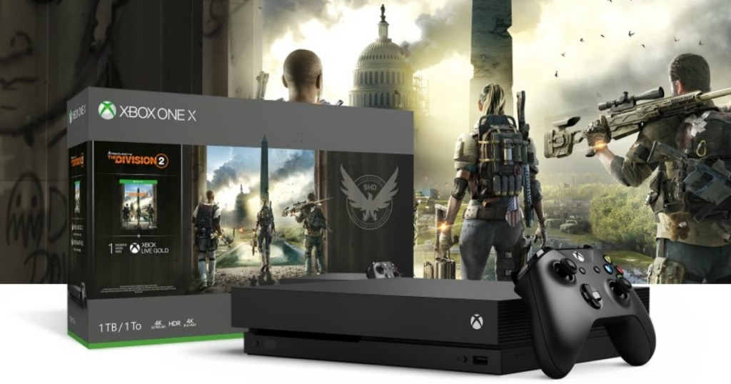 xbox one s tom clancy console, box and controller with action shot in background