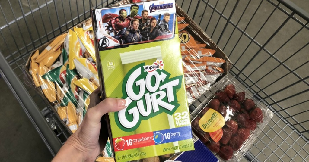 lady holding Go-Gurt in her grocery cart at Sam's Club