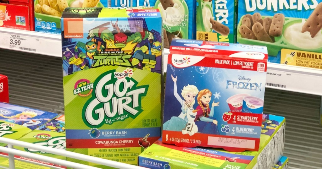 yoplait gogurt or disney frozen yogurt on display at Target