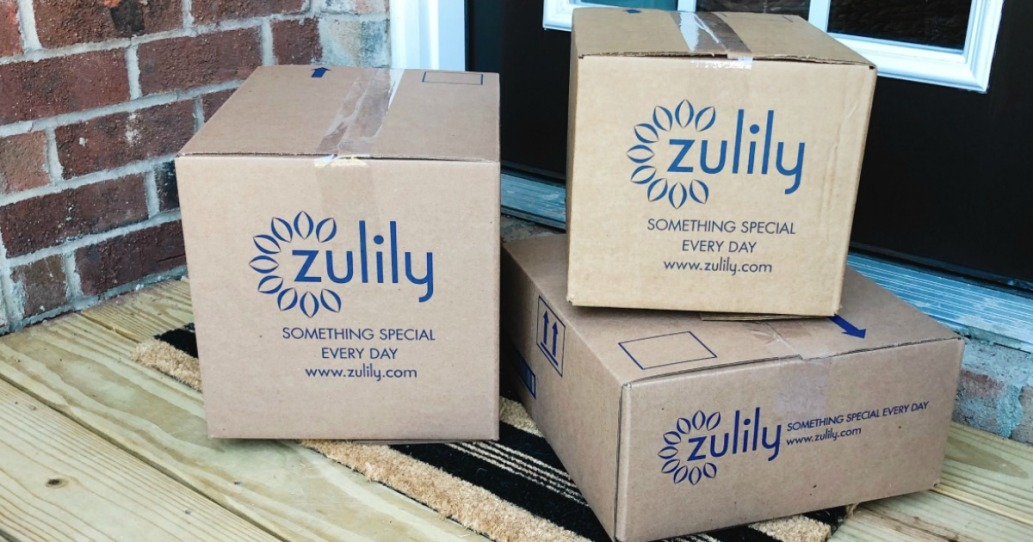 Zulily boxes on front door step