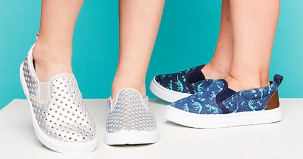 kids wearing slip-on shoes in silver and blue