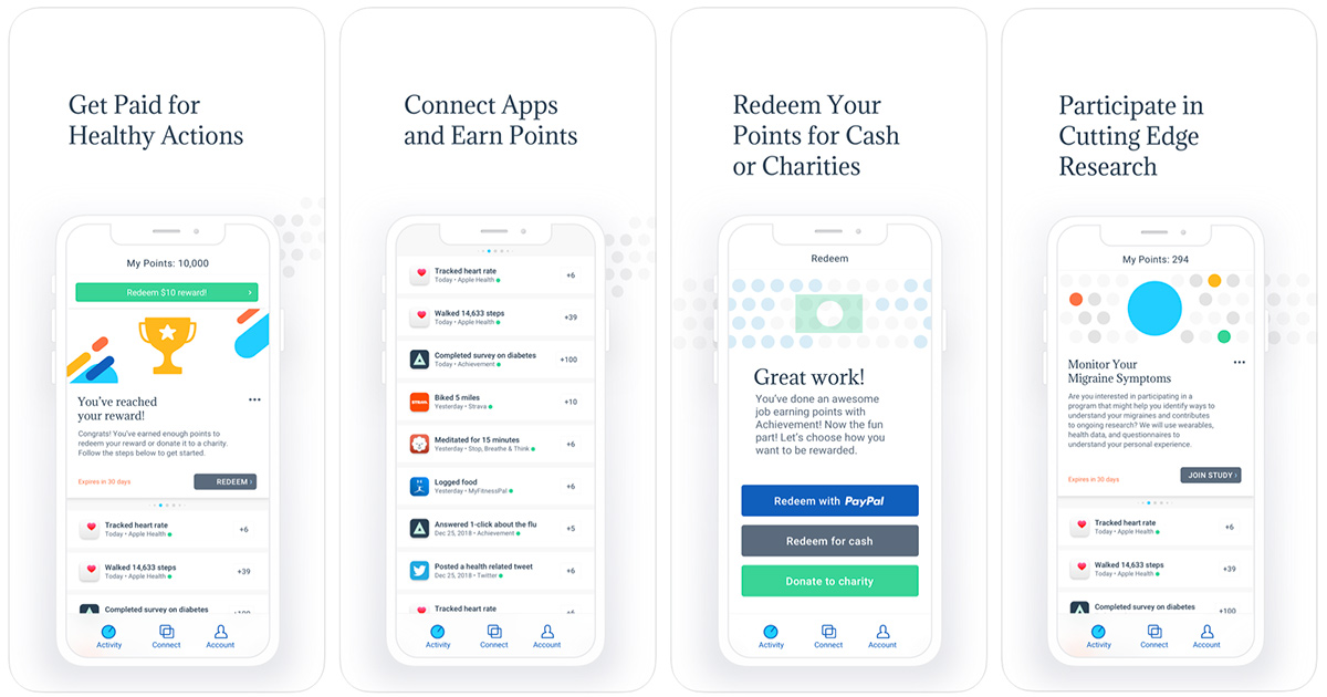 screenshots of the achievement app