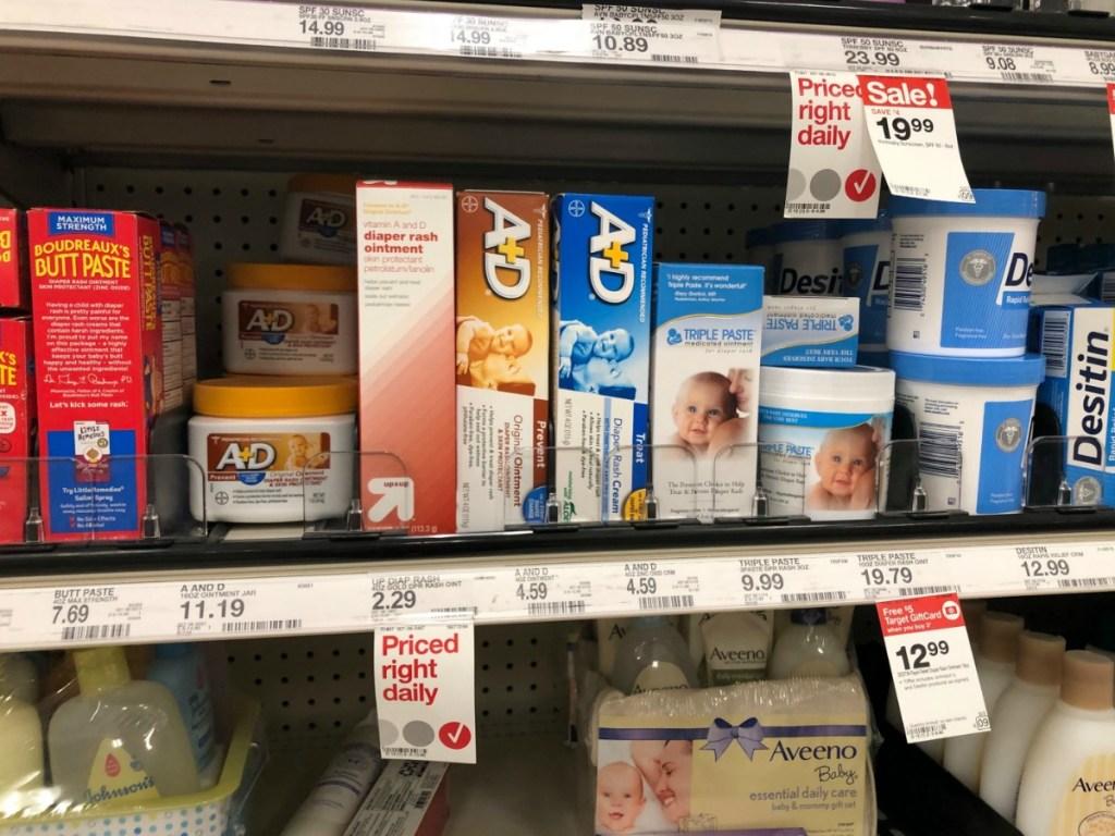 baby rash cream on store shelf