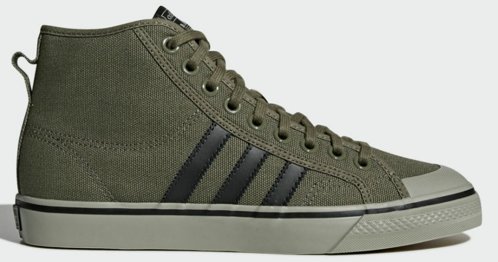 army green with black stripes adidas High Tops