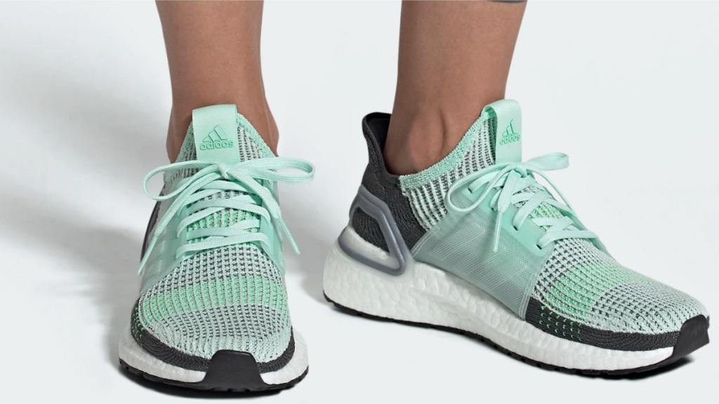 Adidas Ultraboost 19 mint running shoes worn by woman