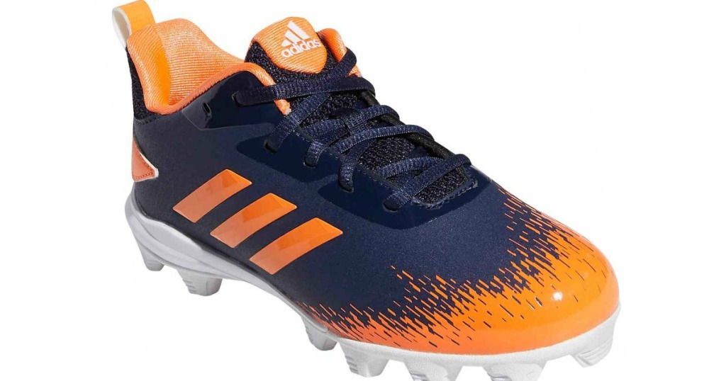 blue and orange cleats with orange stripes