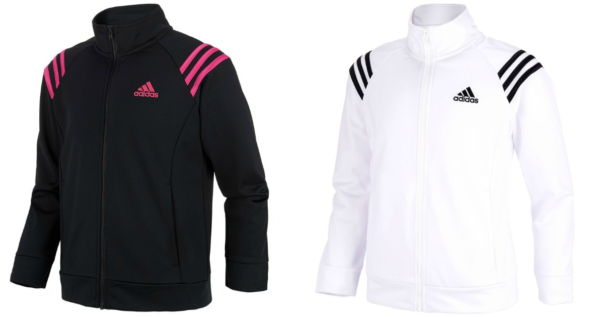 adidas girls black & pink and white & black track jackets