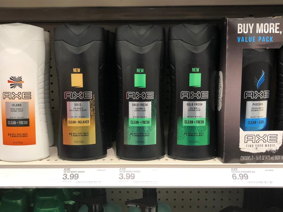 axe body wash on Target shelf