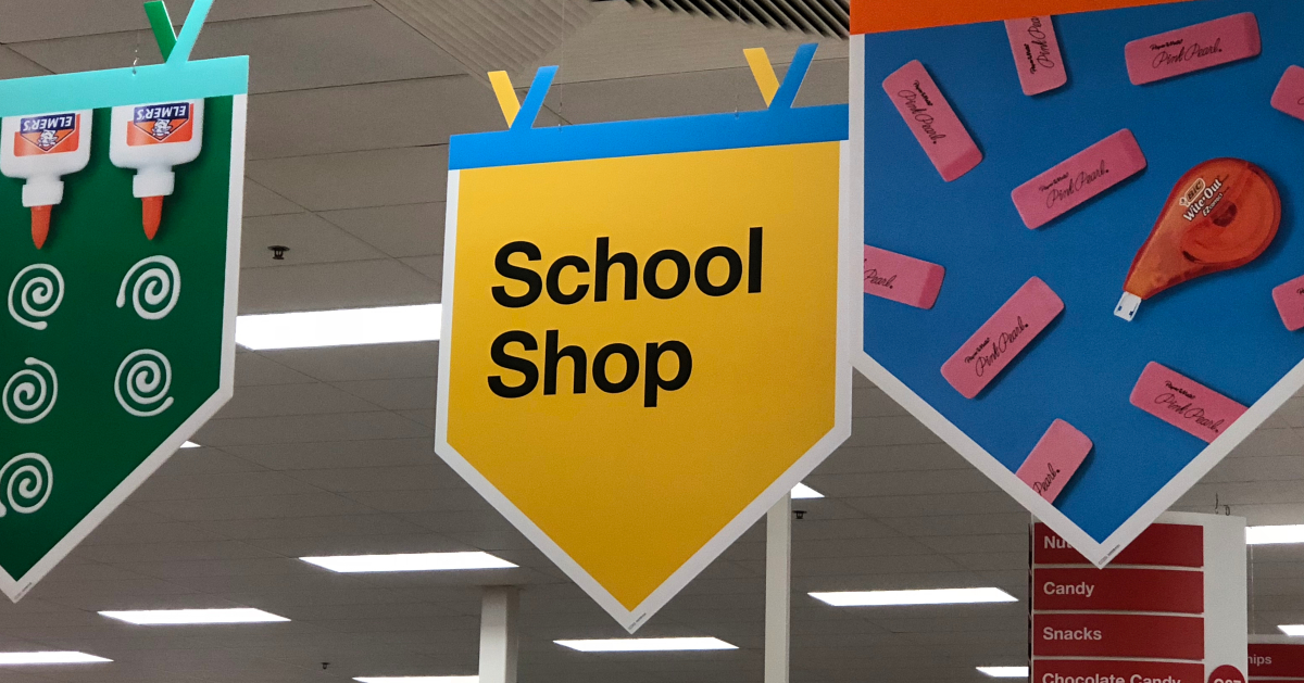 Back to school shop signage at Target