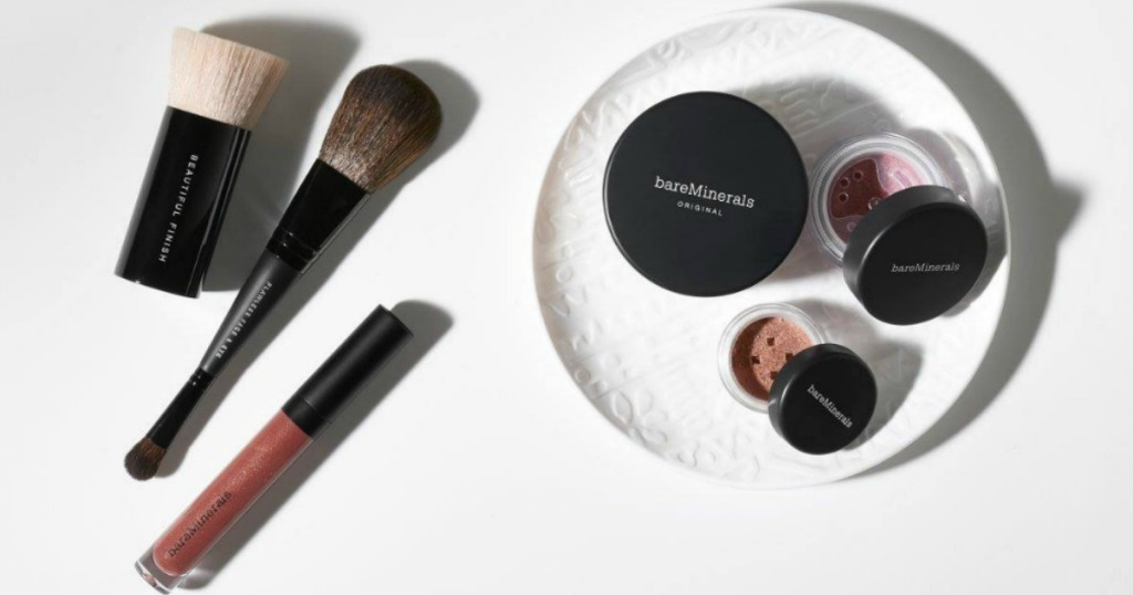 bareMinerals cosmetics on a white background and with a white plate