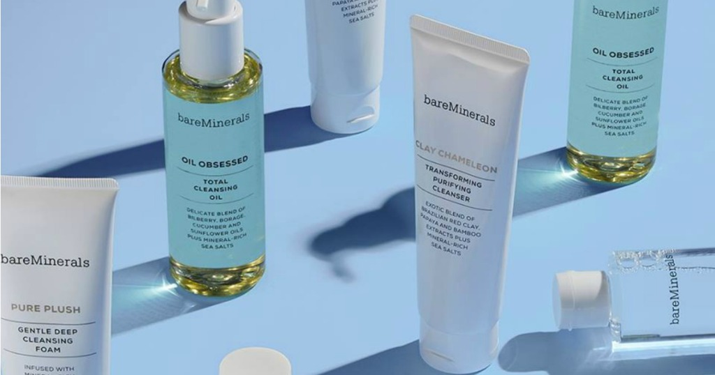 bareMinerals skin cleansing products sitting on a light blue background