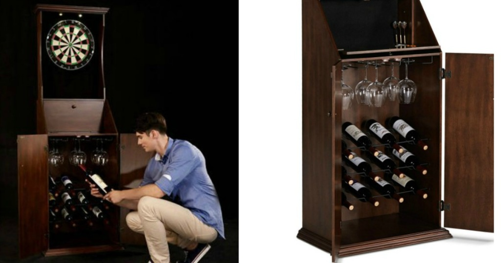 man bending over looking at wine in cabinet
