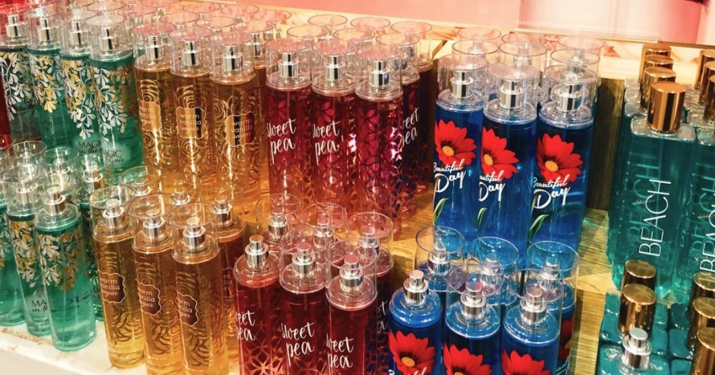 rows of fragrance mists at Bath & Body Works