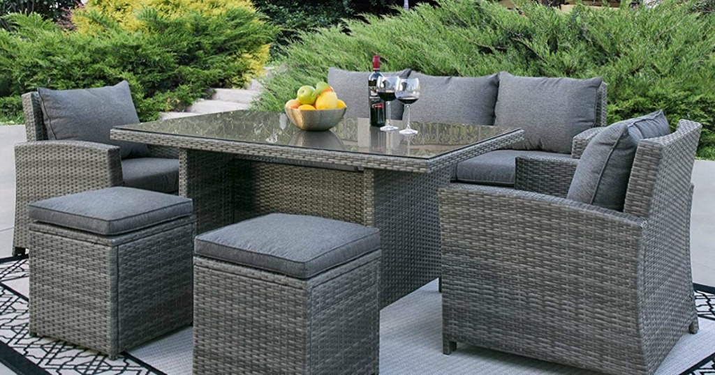6-Piece Outdoor Patio Wicker Sofa Dining Set Just $699.99 ...