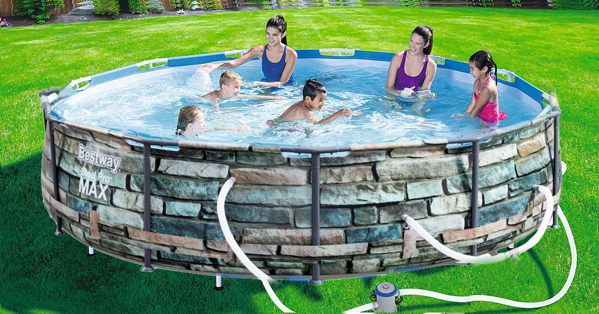 Stone facade bestway steel pro max above ground pool with family in pool