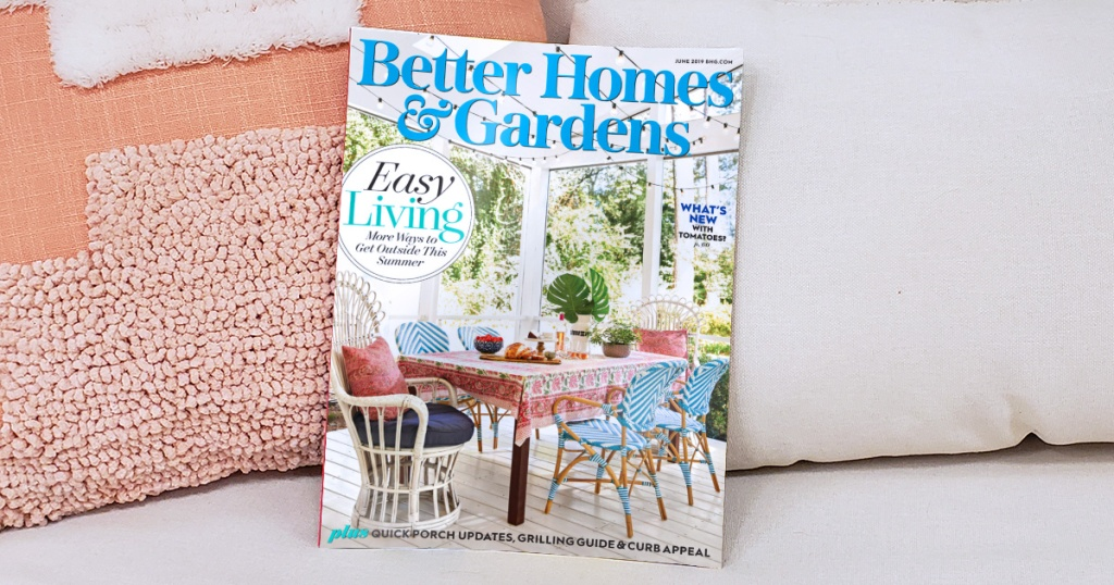 better home and gardens magazine on chair