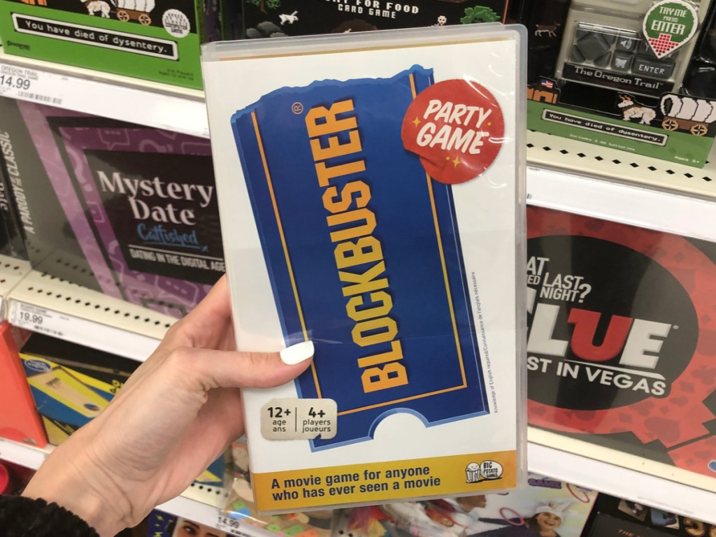 hand holding the Blockbuster game
