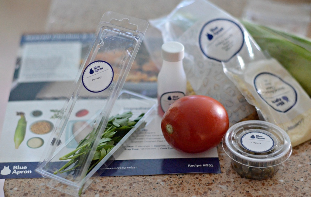 contents of blue apron box for cooking