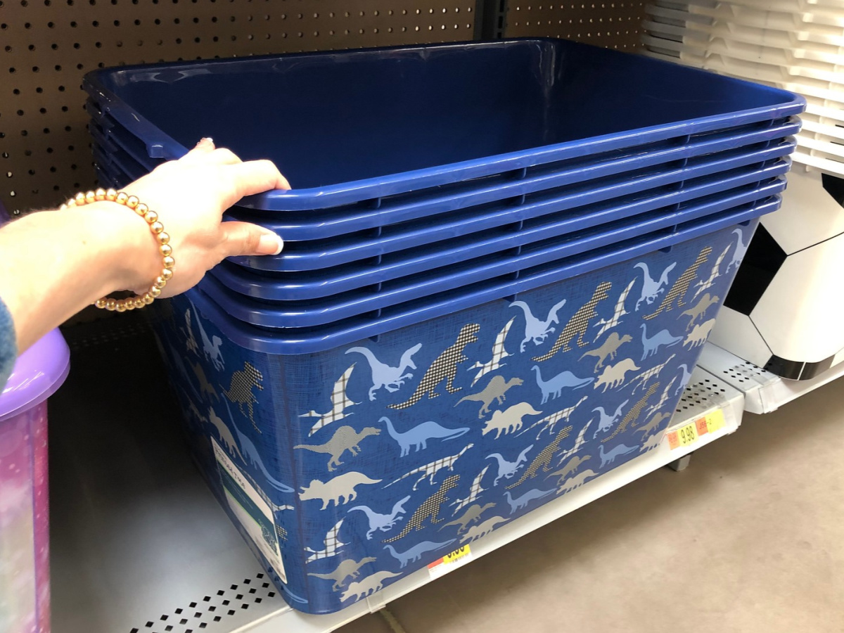 blue plastic totes on a store shelf printed with dinosaurs