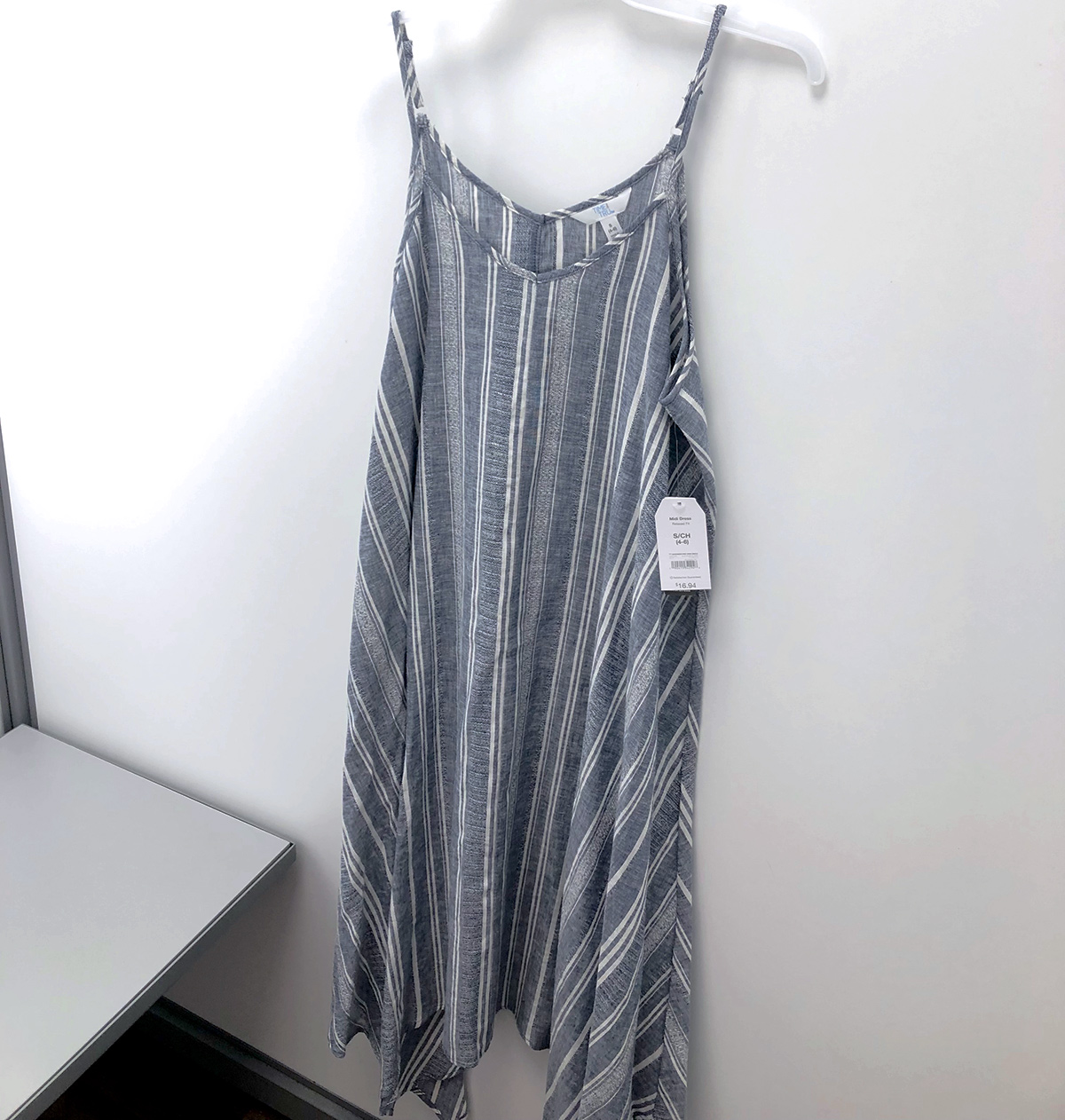 time and tru thin strap chambray striped dress in fitting room at walmart