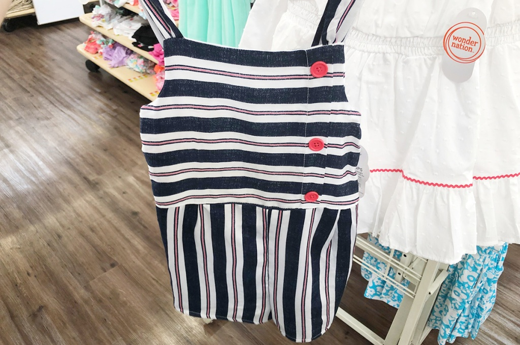 girl blue, white, and pink striped jumper at walmart