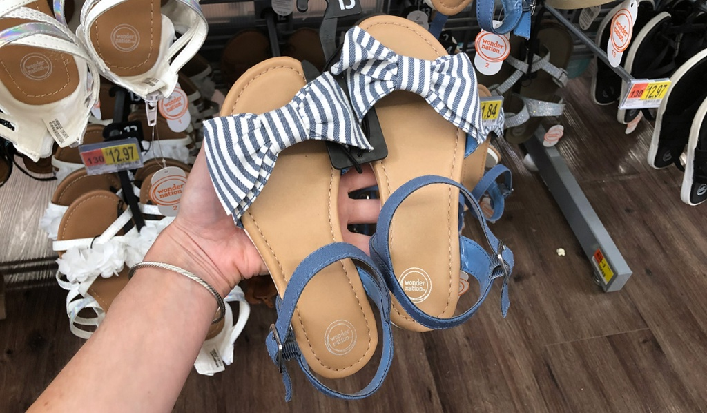 little girls blue and white sandals at walmart
