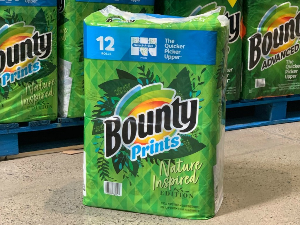 12 rolls of paper towels in package by store display