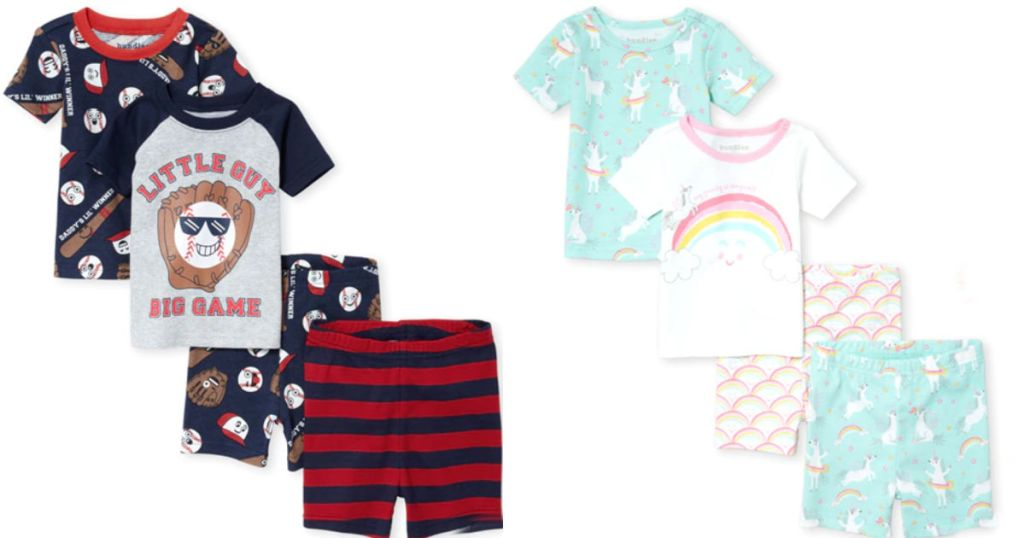 the children's place 4 piece pajama set in baseball theme and unicorns and rainbows