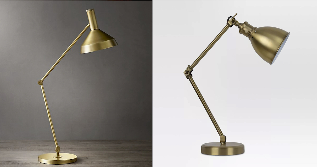 side by side stock photos of gold brass task lights