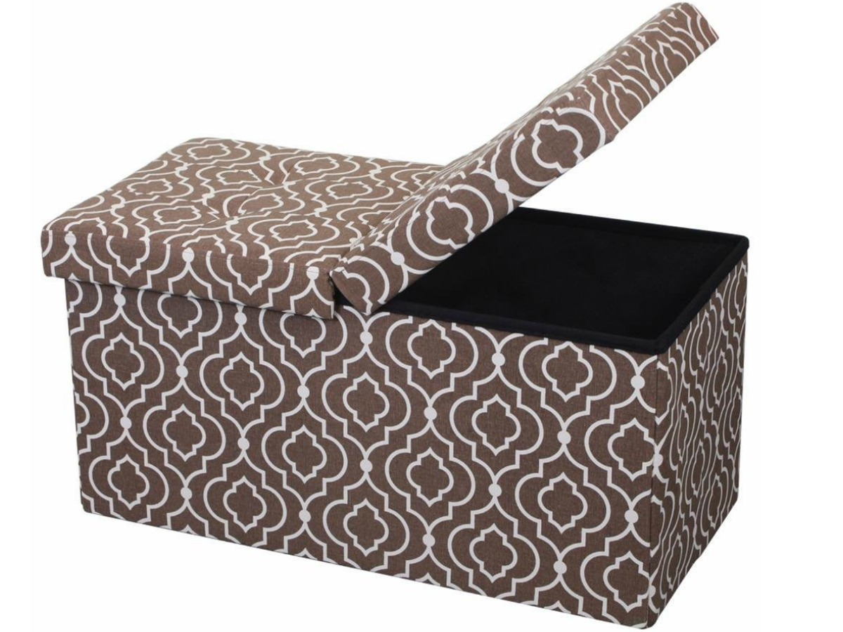 lift top ottoman bench in brown and white. Half of the top is open