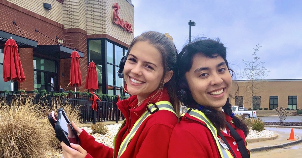 two girls working outside Chick-fil-A