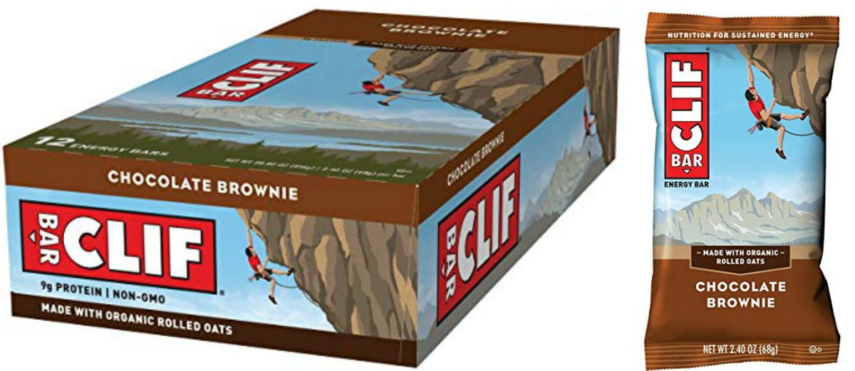 CLIF chocolate brownie box and bar
