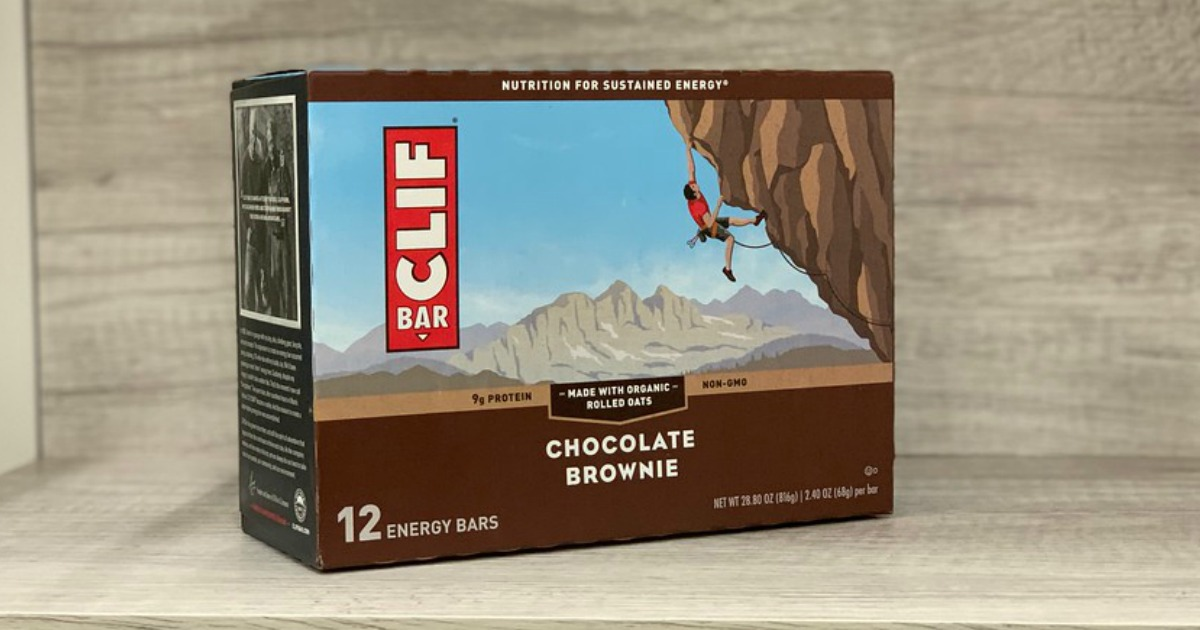 CLIF choclate brownie 12 pack box displayed on shelf