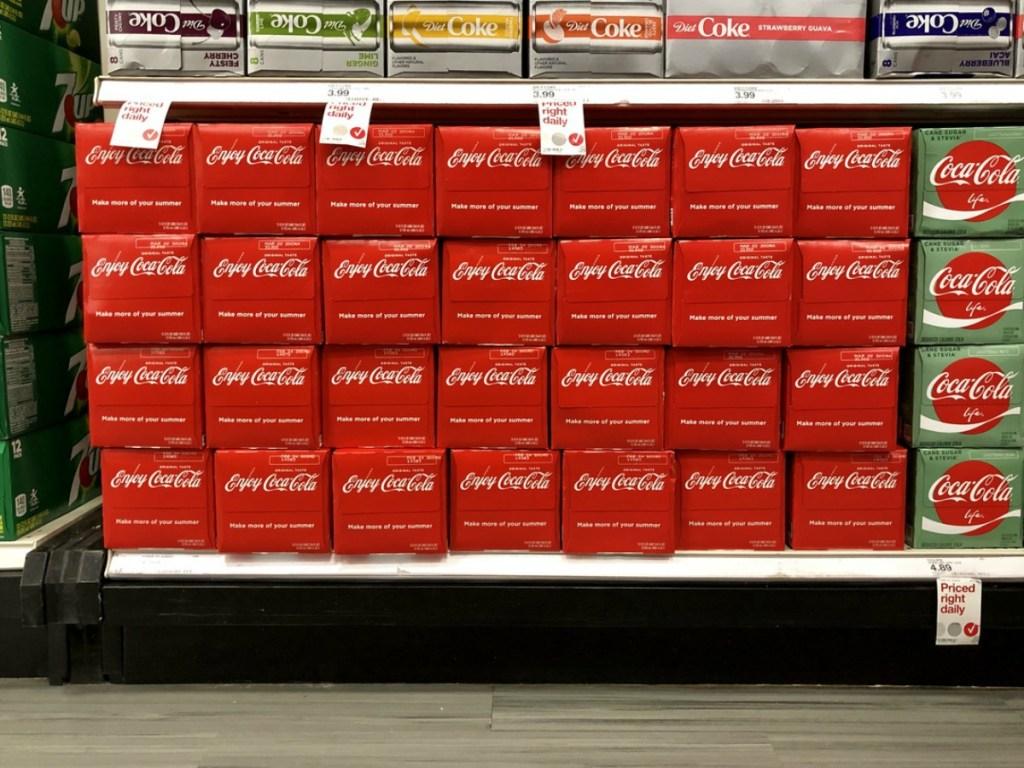 coca-cola 12 packs on store shelves