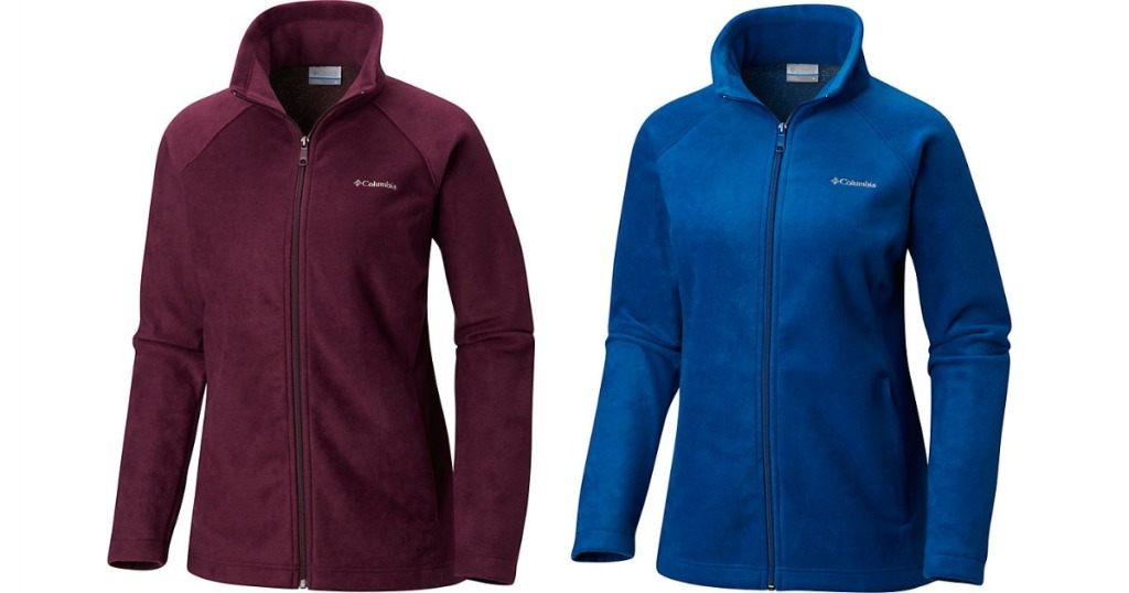 Maroon and blue columbia jackets